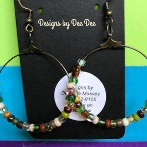 Bronze Tone Hook & Hoop Drop Earrings